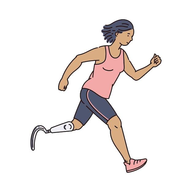 Behinderte weibliche läuferin in der sportkleidung, die vorwärts läuft - karikaturfrau mit beinprothese, die sportübung tut. illustration. Premium Vektoren