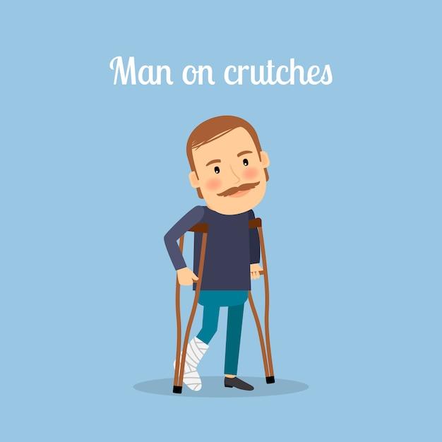 Behinderter mann auf krücken Premium Vektoren