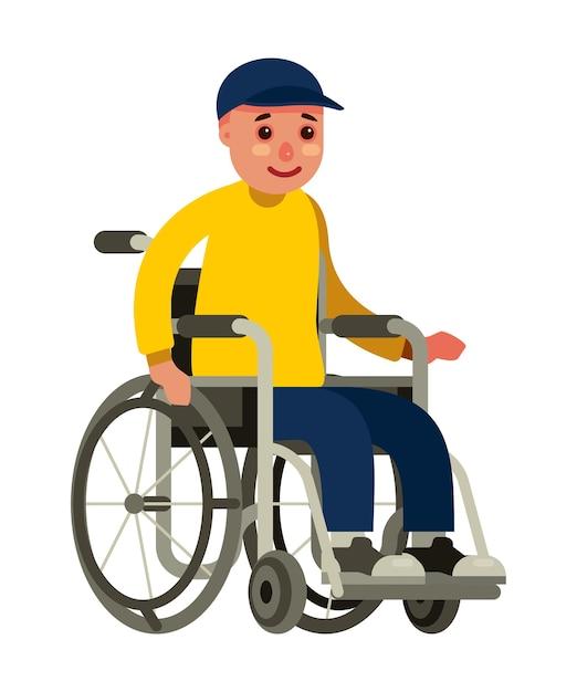 Behinderter mann, der in einem rollstuhl auf einer flachen art des weißen hintergrundes sitzt Premium Vektoren