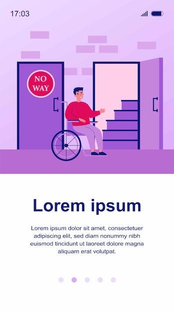 Behinderter mann im rollstuhl, der treppenillustration betrachtet Premium Vektoren