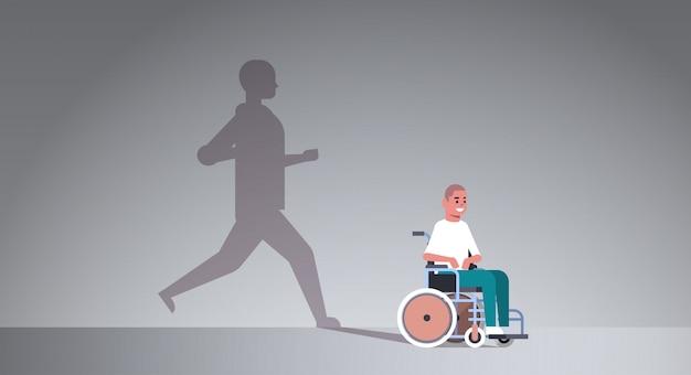 Behinderter mann im rollstuhl träumt von genesung Premium Vektoren