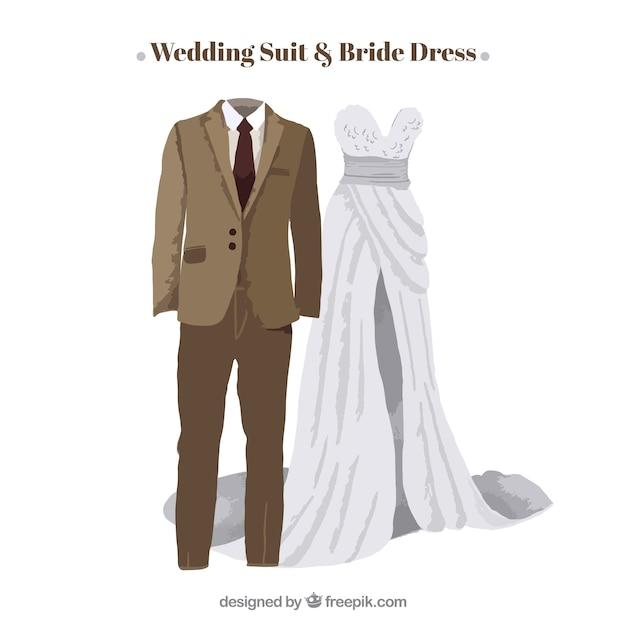 Beige Hochzeit Anzug mit eleganten Braut Kleid | Download der ...