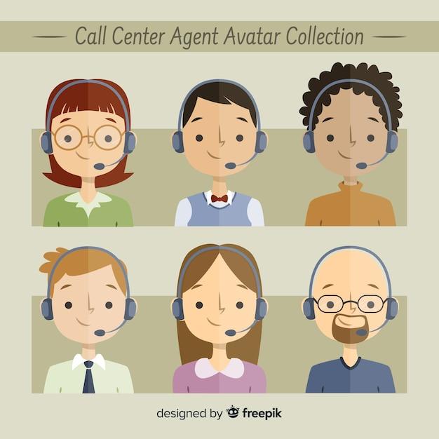 Beispiel für callcenter-avatare Kostenlosen Vektoren