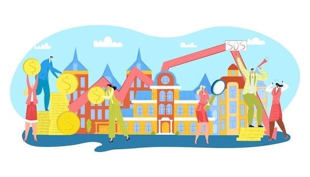 Beitrag zu immobilien, illustration von hypothekenimmobilien. bargeld geldmünzen fallen auf häuser und menschen mit investitionen. immobilien in städtischen gebäuden, immobilienkredite und sinkende preise. Premium Vektoren