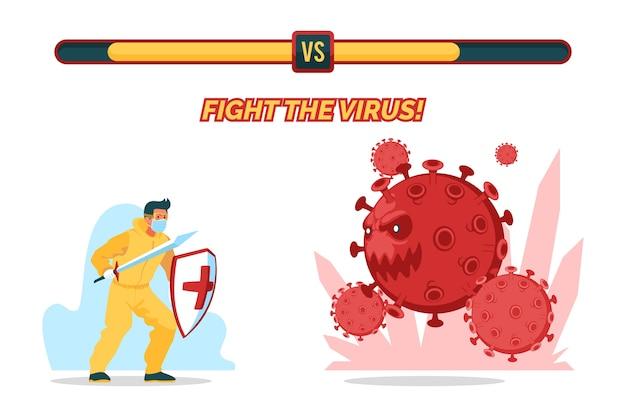 Bekämpfe das viruskonzept mit dem menschen Kostenlosen Vektoren