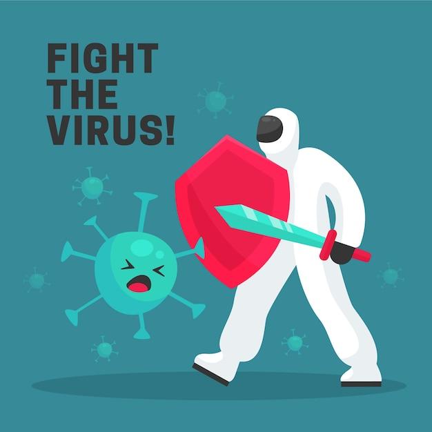 Bekämpfe das viruskonzept Kostenlosen Vektoren