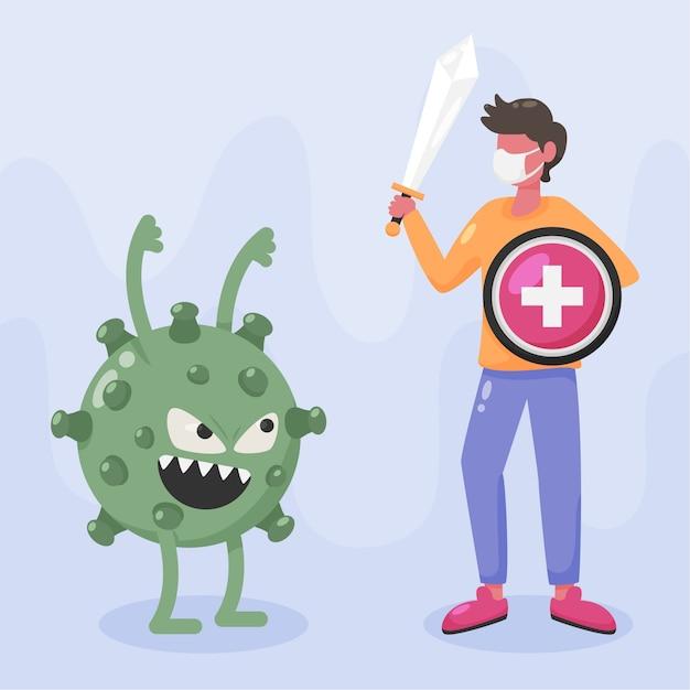 Bekämpfe die virusillustration Kostenlosen Vektoren