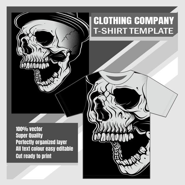 Bekleidungsunternehmen, t-shirt-vorlage, schädel handzeichnung Premium Vektoren
