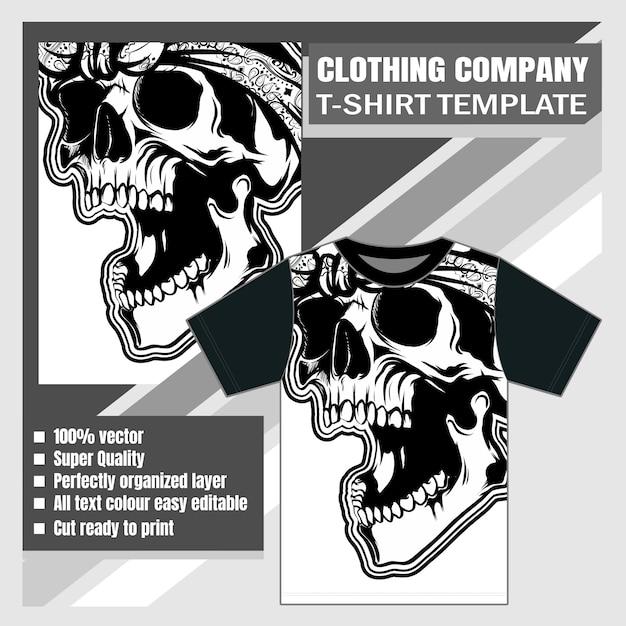 Bekleidungsunternehmen, t-shirt-vorlage, vintage scary skull Premium Vektoren
