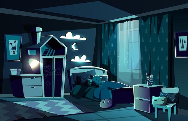 Beleuchtet durch mondscheinkinderraum mit kleinem jungen, der in gemütliches bett mit nachtlichtlampe gleitet Kostenlosen Vektoren