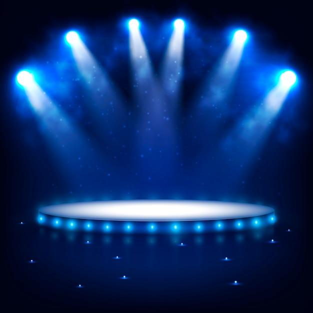 Beleuchtetes podium für präsentation im dunkeln. Premium Vektoren