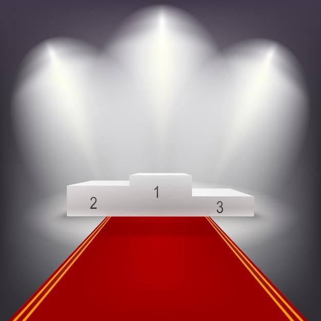 Beleuchtetes siegerpodest mit rotem teppich. Premium Vektoren