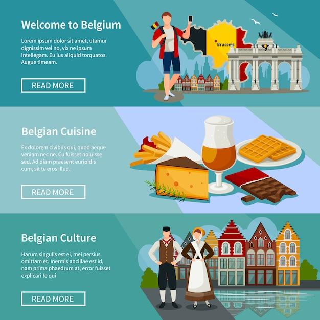 Belgien horizontale banner flache art eingestellt Kostenlosen Vektoren