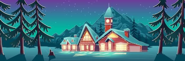 Belichtete villa in der schneebedeckten feldillustration Kostenlosen Vektoren