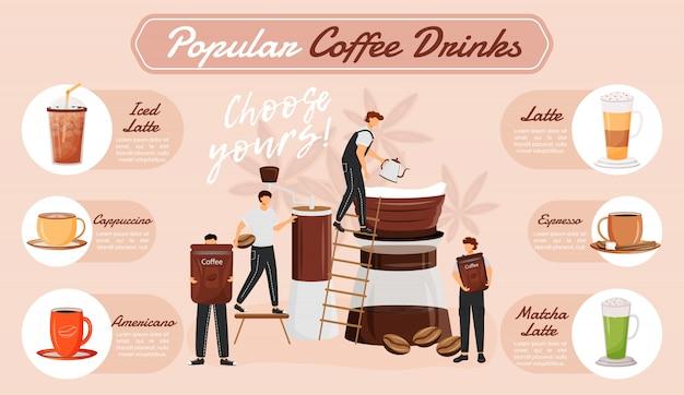 Beliebte kaffeegetränke infografik Premium Vektoren