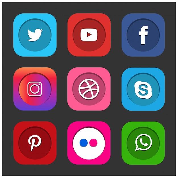 Beliebte social media icons wie facebook twitter blogger linkedin tumblr myspace und andere auf schwarzem papier gedruckt Kostenlosen Vektoren