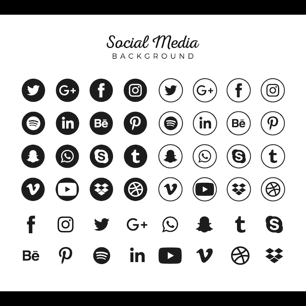 Beliebte social media logo-sammlung Kostenlosen Vektoren