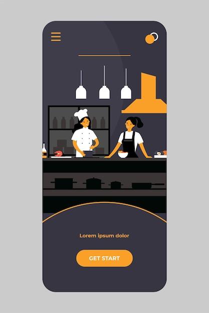 Beliebtes kochshow-konzept auf mobiler app Premium Vektoren