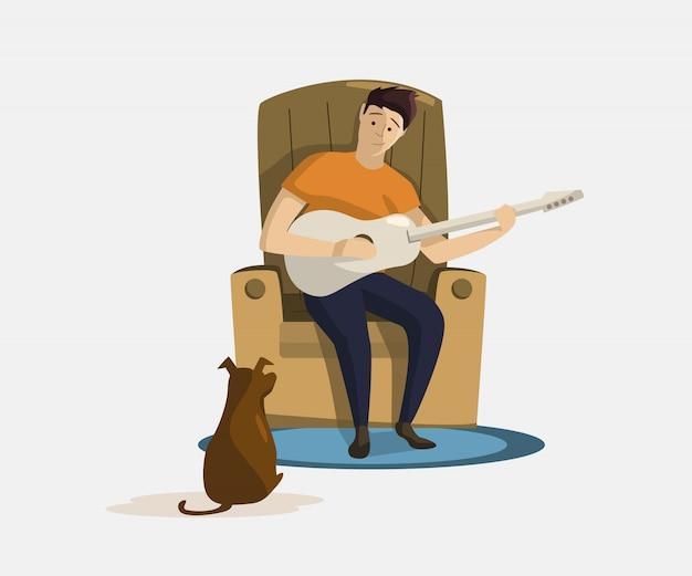 Bemannen sie das sitzen im lehnsessel und das spielen der gitarre für hundevektor Kostenlosen Vektoren