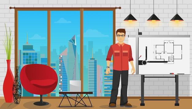 Bemannen sie den architekten, der mit plan am büro oder am studio arbeitet. Premium Vektoren