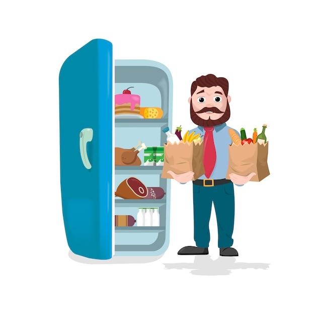 Bemannen sie die papiertüten voll von den früchten, vom gemüse und von den bäckereiprodukten vor einem kühlschrank halten. vektor-illustration Premium Vektoren