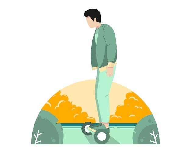 Bemannen sie reitenhoverboard auf der straßenvektorillustration Premium Vektoren