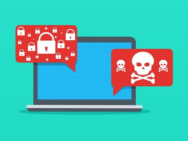 Benachrichtigungs-malware auf dem laptop. unsichere verbindung oder internetbetrug. Premium Vektoren