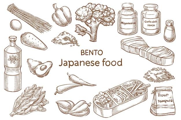 Bento. japanisches essen. zutaten. vektorskizze Premium Vektoren