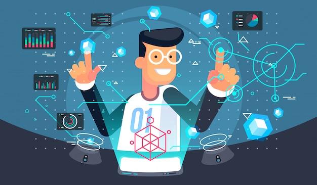 Benutzer der virtuellen realität. vr-tech-illustration. futuristische benutzeroberfläche. Premium Vektoren