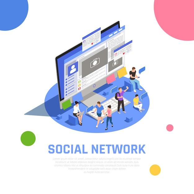 Benutzer des social media-netzwerks, die fotothemen mit freunden teilen, die die isometrische zusammensetzung der nachrichtenöffnungsanwendungen kommunizieren Kostenlosen Vektoren