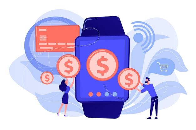 Benutzer, die mit smartwatch einkaufen und kontaktlos bezahlen. smartwatch zahlung, nfc technologie und nfc zahlungskonzept rosa koralle bluevector isolierte illustration Kostenlosen Vektoren