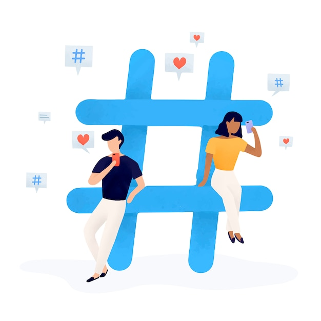 Benutzer mit einem hashtag-vektor Kostenlosen Vektoren