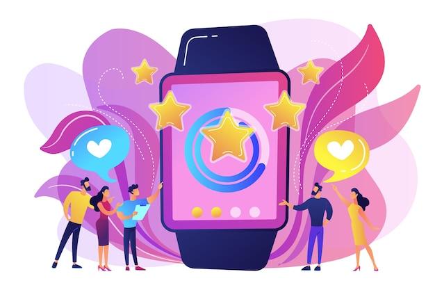 Benutzer mit herzen mögen riesige smartwatch mit bewertungssternen. luxus-smartwatch, modeuhr und luxus-lifestyle-konzept auf weißem hintergrund. helle lebendige violette isolierte illustration Kostenlosen Vektoren