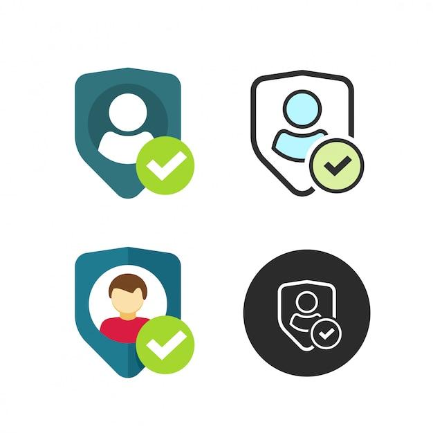 Benutzerdatenschutzschildsymbol oder persönliche schutzvektorikone in der flachen karikatur und in der linie entwurfsart Premium Vektoren