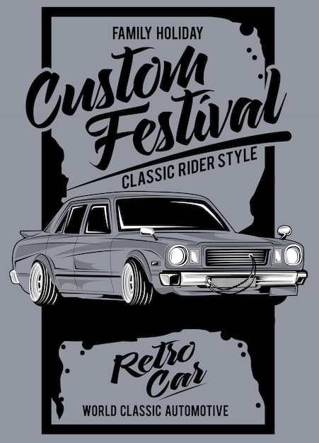 Benutzerdefiniertes festival, illustration eines klassischen rennwagens Premium Vektoren
