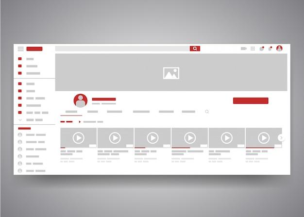 Benutzerschnittstellenseite des youtube-videokanals des webbrowsers mit suchfeld und videoliste. Premium Vektoren