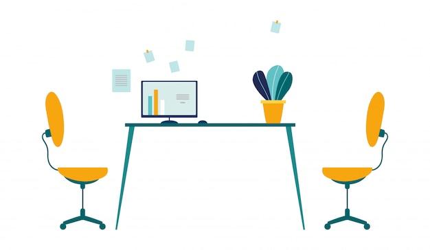 Bequemer arbeitsplatz in der modernen büro-karikatur. zwei arbeitsstühle Premium Vektoren