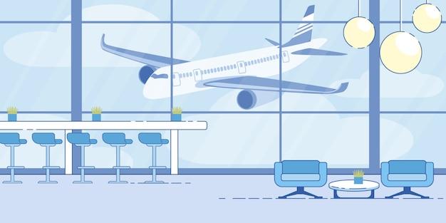Bequemer wartebereich-vektor des flughafenabfertigungsgebäudes Premium Vektoren