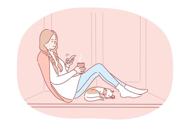 Bequemes entspannen zu hause mit smartphone und heißem getränk. Premium Vektoren