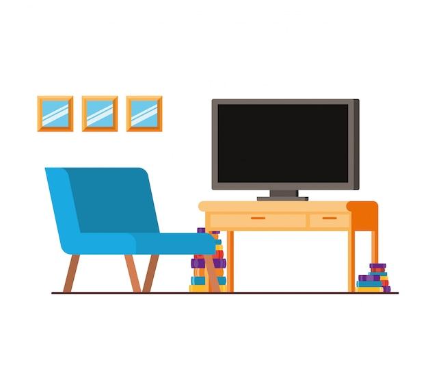 Bequemes sofa im wohnzimmer mit plasmafernseher Premium Vektoren