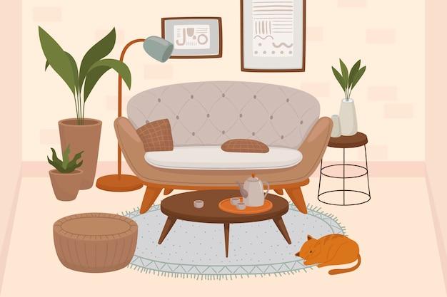 Bequemes wohnzimmer interieur mit katzen sitzen auf sessel und ottomane und zimmerpflanzen wachsen in töpfen Premium Vektoren