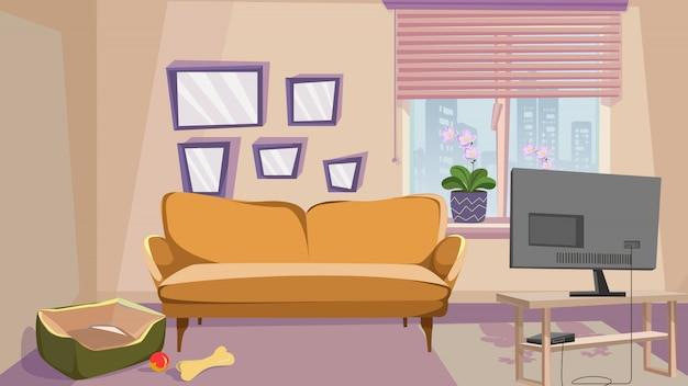 Bequemes wohnzimmer mit beige wand-innenraum Premium Vektoren