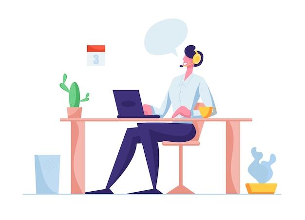 Berater im hotline-chat mit dem kunden Premium Vektoren