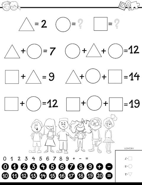 Berechnungslernspiel für kinder malbuch Premium Vektoren