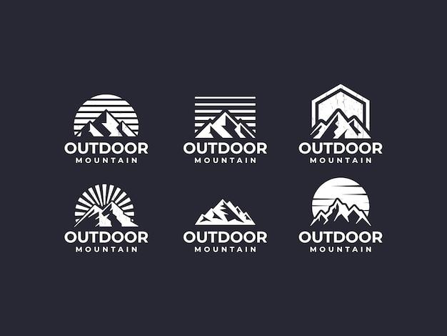 Berg, berglandschaft, berglogo im freien Premium Vektoren