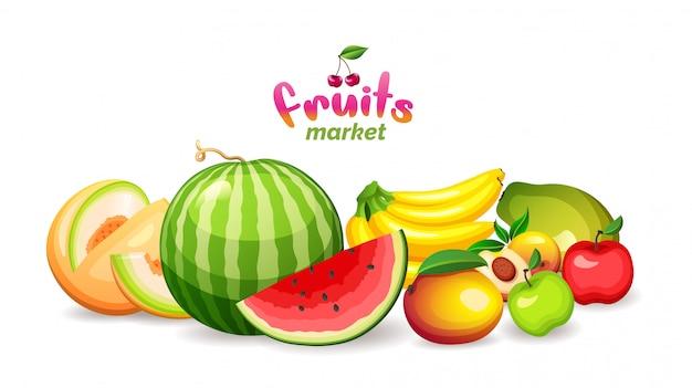 Berg der früchte auf einem weißen hintergrund, obstmarktgeschäftslogo, illustration. Premium Vektoren