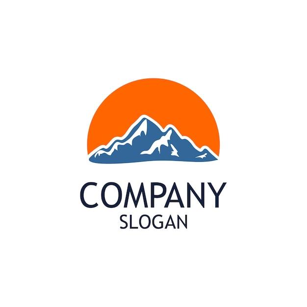 Berg mit großem sun logo design Premium Vektoren