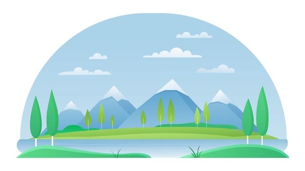Berg mit sommerflusslandschaftskonzept des seeflusses Premium Vektoren