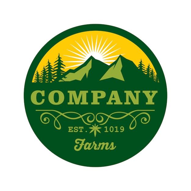 Berg und bäume logo abzeichen vorlage Premium Vektoren