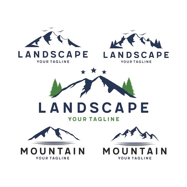 Berg- und landschaftslogo Premium Vektoren